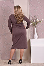 Стильное платье батальных размеров 0198 коричневое, фото 3