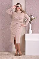 Женское платье батальных размеров 0198 беж