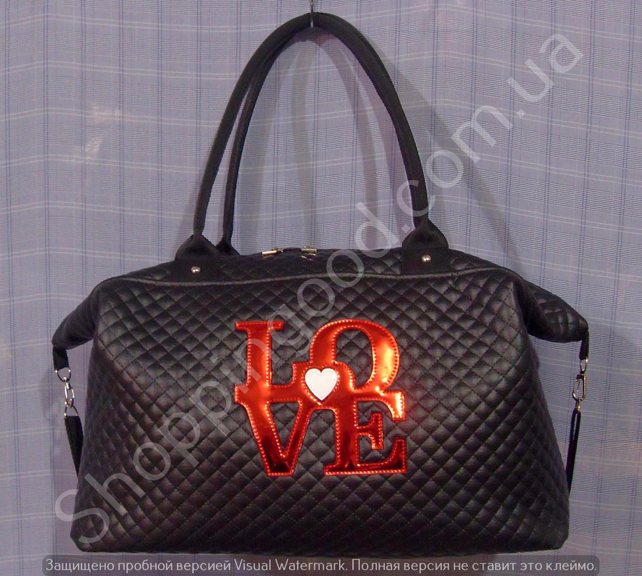 f1f854988343 Спортивная сумка Love 013749 черная женская стеганная эко-кожа ручки круглые