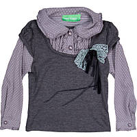 """Обманка, рубашечка для девочки на пуговицах """"Горох"""", серый,  Many&Many (Мени Мени)"""