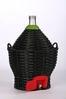Бутыль-демиджон с краном для вина и пластиковой крышкой, Итальянское стекло объем - 23 литра