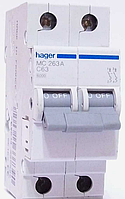 Автоматический выключатель Hager MC202A In=2 А, 2п, С, 6 kA, 2м