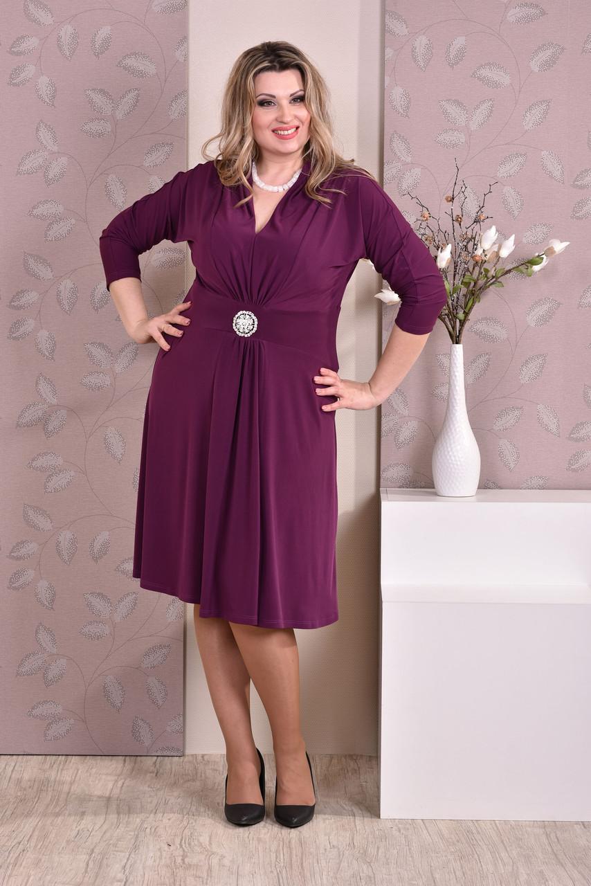 Красивое платье больших размеров 0205 слива