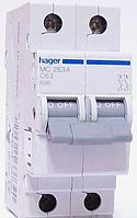 Автоматический выключатель Hager MC203A In=3 А, 2п, С, 6 kA, 2м