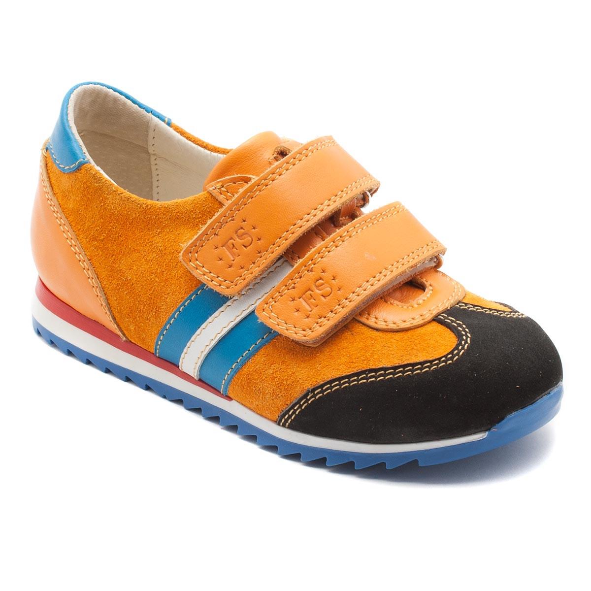 Оранжевые замшевые кроссовки FS Сollection для мальчика, на двух липучках, размер 20-30