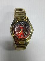 Часы мужские кварцевые  золотой браслет-резинка арт.047
