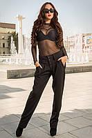 44-46,46-48,48-50 Модные женские деловые черные брюки 3010 с завышенной талией строгие удобные классические