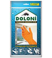 Перчатки латексные хозяйственные Doloni Household M оранжевые 4545