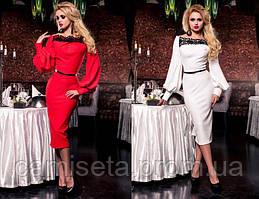 Платье женское длинное приталенное с кружевом и ремешком P927