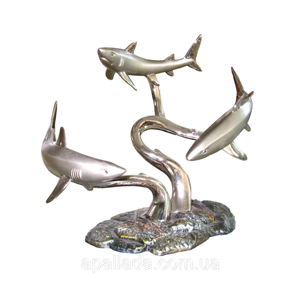 """Бутыльник """"Акулы"""" с напылением серебра"""