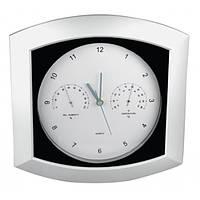 Часы настенные с термометром и гигрометром, материал пластик
