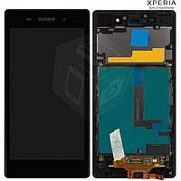 Дисплейный модуль (дисплей + сенсор) для Sony Xperia Z1 C6902 L39h, с рамкой, черный,оригинал