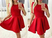 Расклешенное платье с гипюром