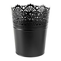"""IKEA """"СКУРАР"""" Кашпо, черный, 10.05 см"""