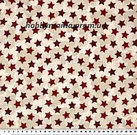 Звезды, камуфляж. Красный. Хлопок 100%. Ткань для галстука-бабочки. BT-3