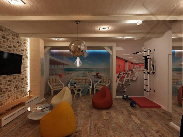 Зеркальная колонна в спортивной зоне настраивает на эффективную тренировку и не скрадывает пространство.
