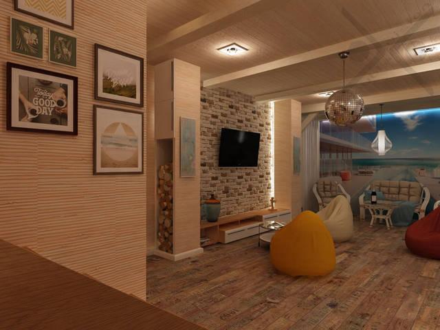 Стены оклеены экологичными бамбуковыми обоями. Колонна слева от телевизора повторяет опору справа и выполняет функцию хранения дров в открытой части, и вещей в закрытых шкафах.