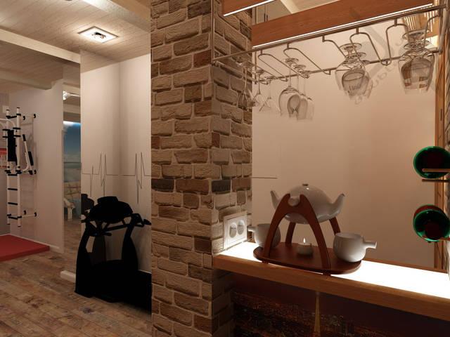 Ламинат wine & fruits. Потолок обшит деревом и декоративными балками. Освещение встроенное и направленное.
