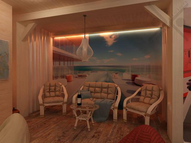Импровизированная терраса создана с помощью фотообоев с видом известного отеля. Легкая ротанговая мебель, подсветка, меняющая свой цвет, и стены, декорированные тонкими шторами, создают ощущение непринужденности.