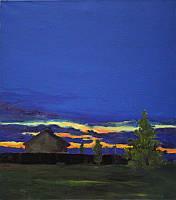 «Заход солнца» картина маслом