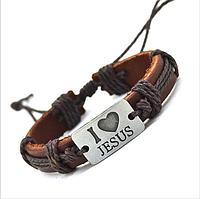 Браслеты кожаные I Love Jesus (Я люблю Иисуса)., фото 1