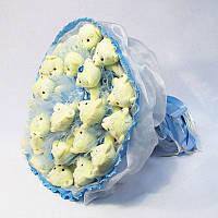 Букет из игрушек Мишки 27 в голубом