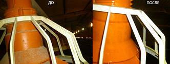 Поилки и кормушки на птицефабрике, моющие средства PRIMA MK и PRIMA Supra (пенное или без пенное в зависимости от режима мойки). загрязнения - налет водного камня и известняка, остатки комбикормов, зерновая и мучная пыль