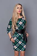 Оригинальное стильное платье в зеленую клетку с боковыми карманами