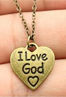 Підвіска-кулон металевий I love God ( Я люблю Бога) Бронза, фото 1