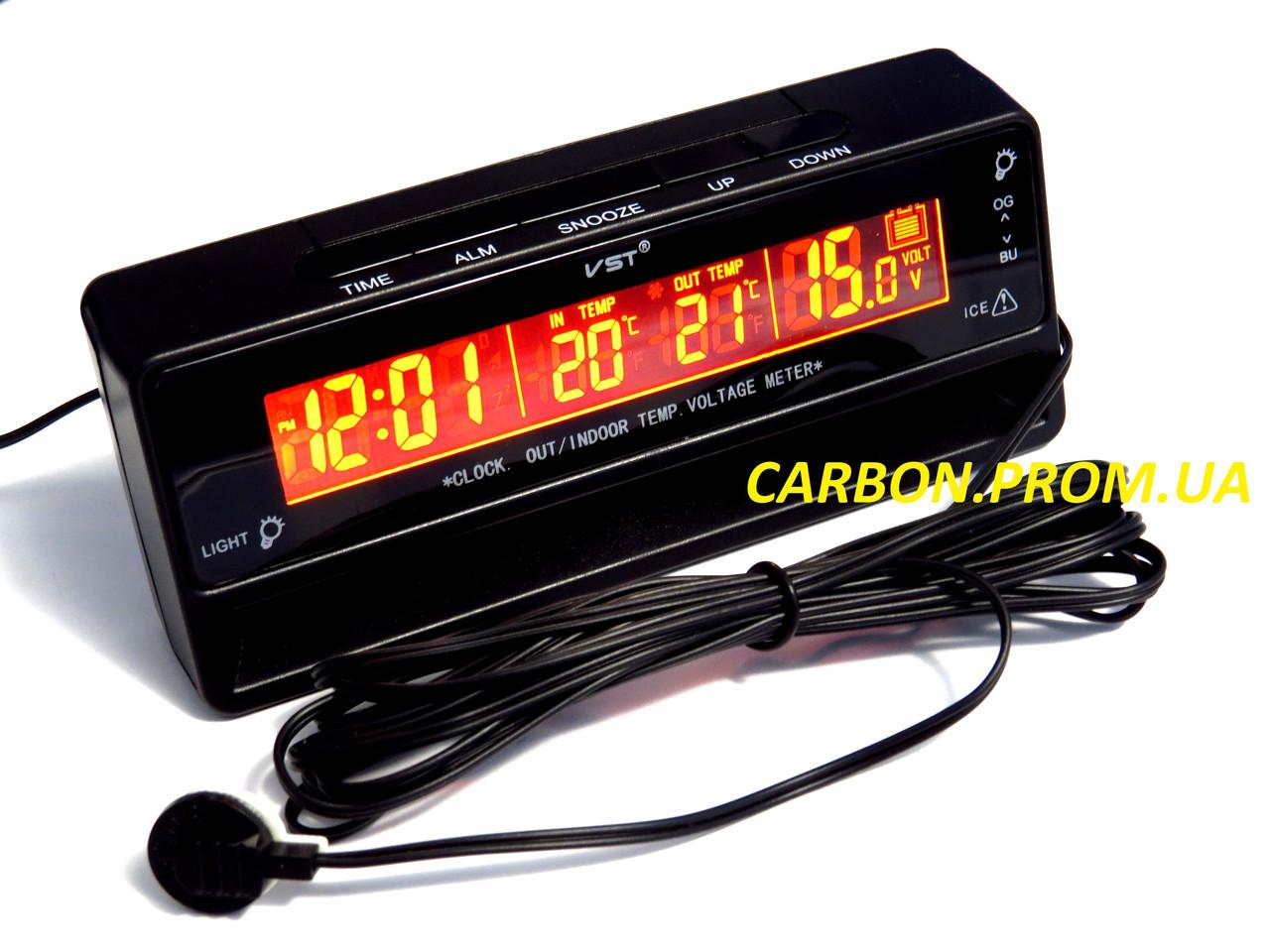 Часы с термометром и вольтметром VST 7010V для автомобиля