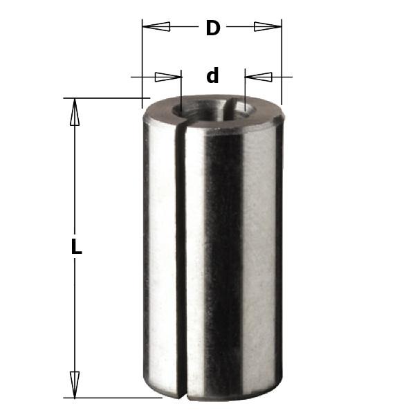 Втулка переходная разрезная D 8 мм x 6 мм, L = 25 мм,  (WPW, Израиль)