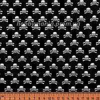 Ткань с черепами, черный. Хлопок 100%. BT-9
