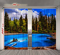 Штора 3D Озеро в хвойном лесу