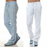 Штаны из льна мужские свободные. Цвет различный
