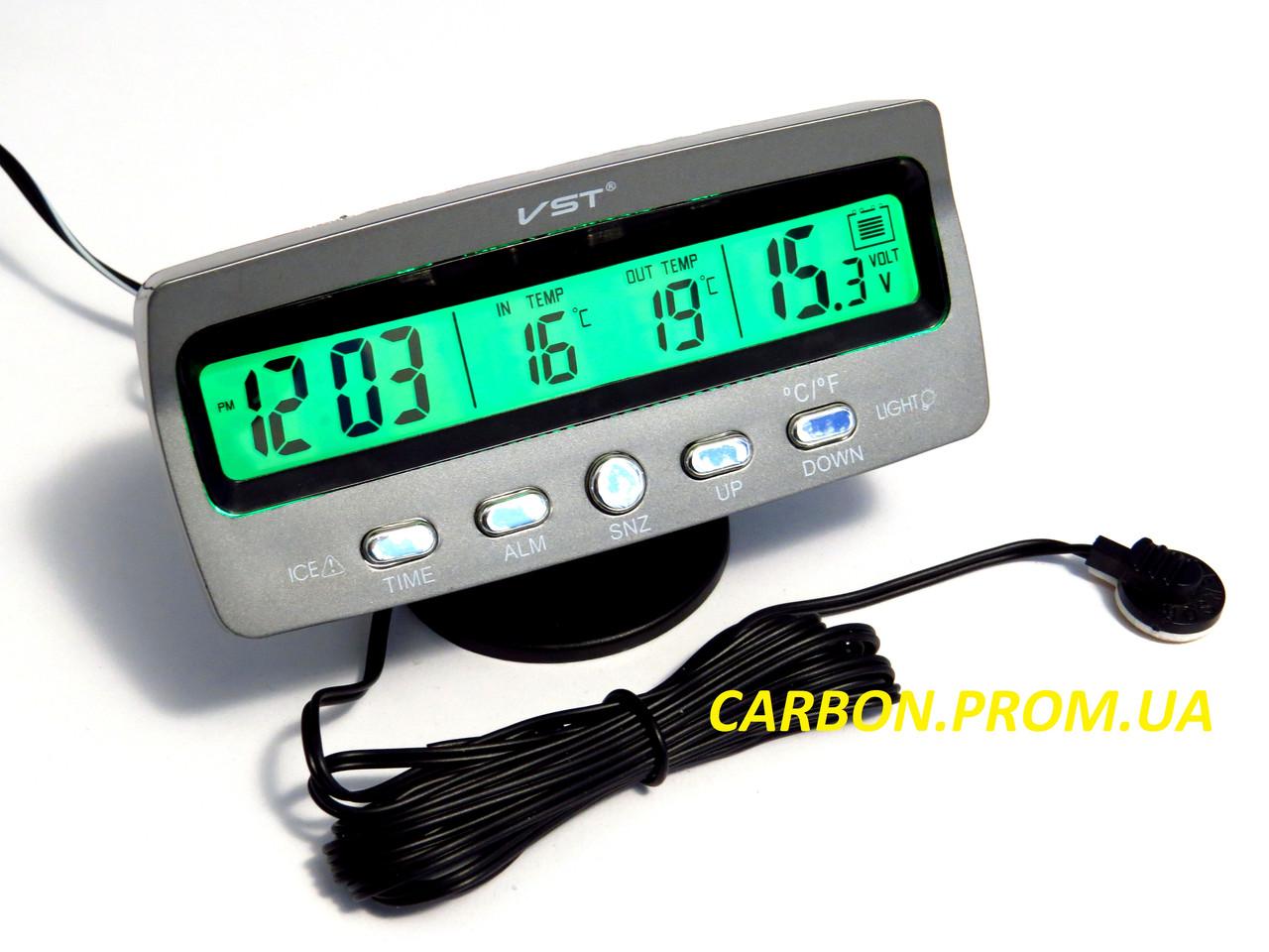 Часы с термометром и вольтметром VST 7045V для автомобиля
