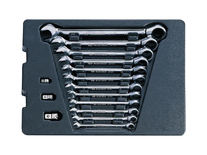 Набор ключей рожково-накидных с трещоткой (переключатель) 15 ед. в ложементе KINGTONY