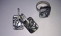 Комплект кольцо и серьги, фото 1