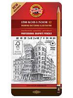 Набор графитных карандашей K-I-N 1582-12шт 6B-6H  195024