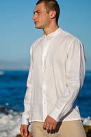 Натуральная мужская рубашка со стойкой. Натуральна лляна сорочка чоловіча Льон, фото 1
