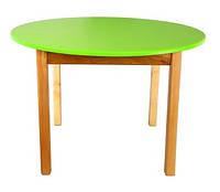 Стол деревянный с круглой столешницей цветной, салатовый 031 Финекс Плюс