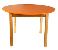 Стол деревянный с круглой столешницей цветной, оранжевый 032 Финекс Плюс
