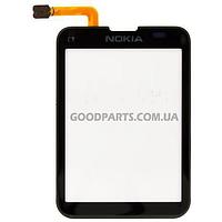 Сенсорный экран (тачскрин) для Nokia C3-01 черный (Оригинал)