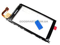 Сенсорный экран (тачскрин) с рамкой для Nokia X6-00 черный (Оригинал)