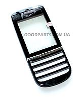 Сенсорный экран (тачскрин) с большой и маленькой рамкой для Nokia 300 Asha черный (Оригинал)
