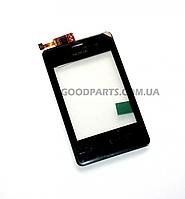 Сенсорный экран (тачскрин) с рамкой для Nokia 502 Asha Dual Sim черный high copy