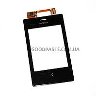 Сенсорный экран (тачскрин) для Nokia 503 Asha Dual Sim черный (Оригинал)