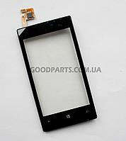 Сенсорный экран (тачскрин) с рамкой для Nokia 520, 525 Lumia черный high copy