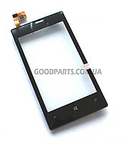 Сенсорный экран (тачскрин) с рамкой для Nokia 520, 525 Lumia черный (Оригинал)