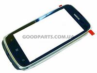 Сенсорный экран (тачскрин) с рамкой для Nokia 610 Lumia черный (Оригинал)