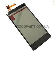 Сенсорный экран (тачскрин) с рамкой для Nokia 820 Lumia черный (Оригинал)